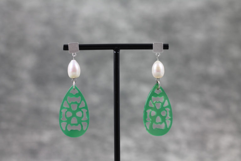 Ohrhänger Permutt grün mit Perlen 925