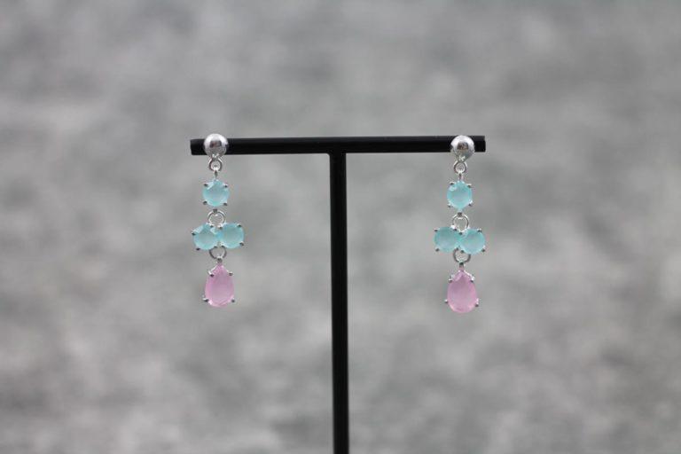 Ohrhänger rosa türkis Natursteine