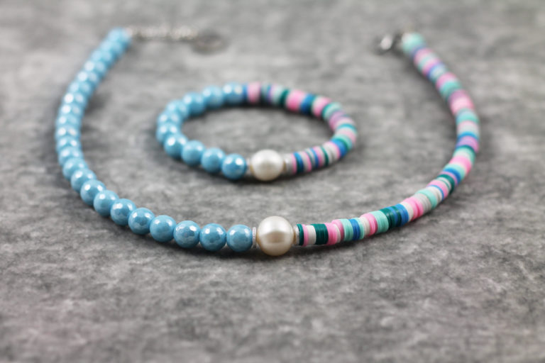 Natursteinkette bunt Perle