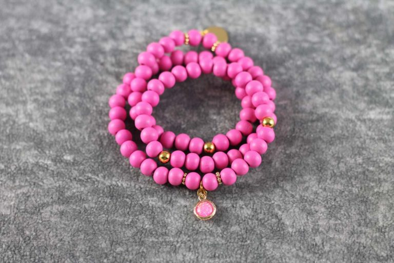 Wickelarmband Wood pink