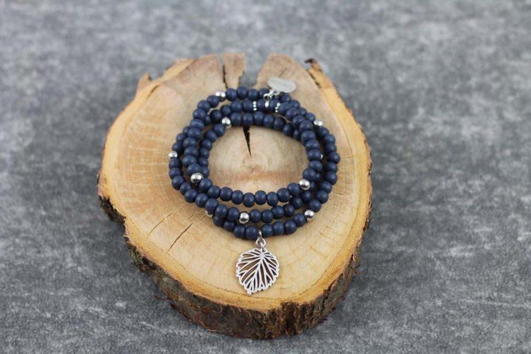 Wickelarmband Wood blau