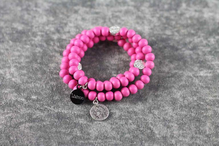 Wickelarmband Wood pink Franc
