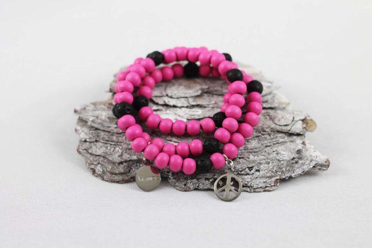 Wickelarmband Wood pink schwarz